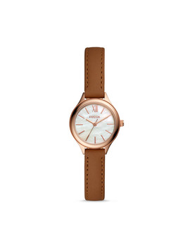 Suitor Mini Three Hand Brown Leather Watch by Fossil