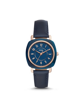 Idealist Three Hand Navy Leather Watch by Fossil