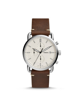 Herrenuhr The Commuter   Chronograph   Leder   Braun by Fossil