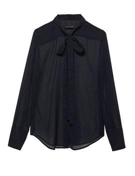 Dillon Classic Fit Sheer Clip Dot Tie Neck Shirt by Banana Repbulic