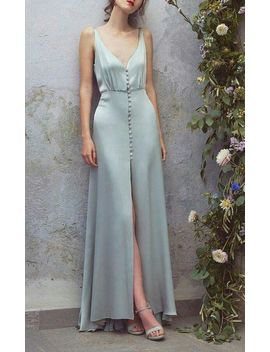 Light Blue ,Satin, Sleeveless,High Slit,Spaghetti Straps, Sexy,Long Formal Dress,Ball Gown, Sleeveless, Party Dress/Homecoming Dress Short, Evening Gowns, 2018 New Fashion ,Prom Dresses by Luulla