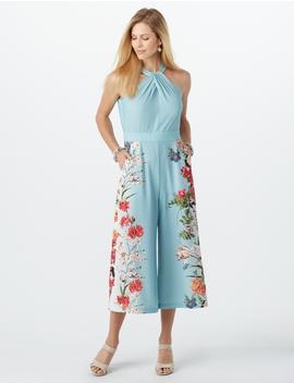 Floral Print Halter Jumpsuit by Dressbarn