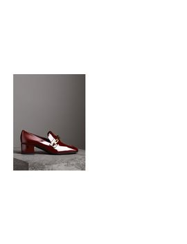 Link Detail Patent Leather Block Heel Loafers by Burberry