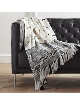 Jema Black And White Throw With Tassels by Crate&Barrel