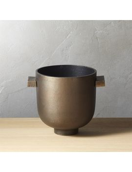 Cask Metal Planter by Crate&Barrel