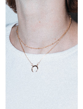 Gold Double Chain Crescent Charm Necklace by Brandy Melville