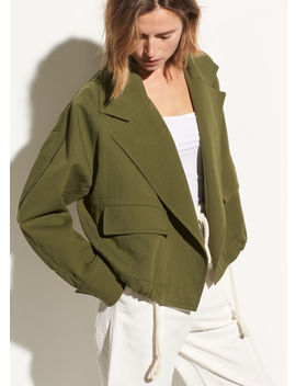 Cropped Cotton Lapel Jacket by Vince