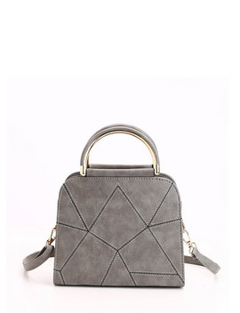 Geometric Design Pu Handbag With Strap by Romwe