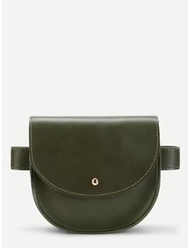 Saddle Flap Pu Bum Bag by Romwe