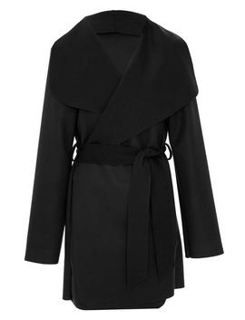 *Quiz Black Tie Belt Felt Jacket by Dorothy Perkins