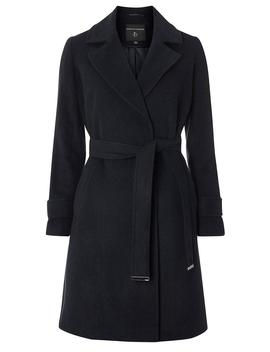Navy Belted Wrap Coat by Dorothy Perkins