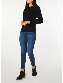 navy-volume-sleeve-jumper by dorothy-perkins