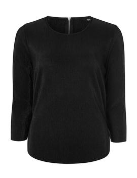 **Only Black 3/4 Sleeve Woven Plisse Top by Dorothy Perkins