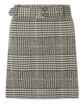 Grey Check Print Belted Mini Skirt by Dorothy Perkins