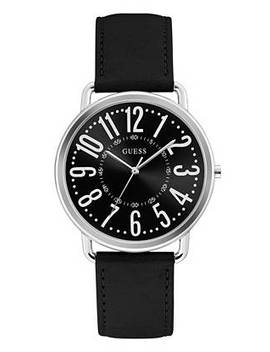 Silver Tone Black Analog Watch by Guess