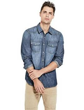 Slim Fit Western Chambray Shirt by Guess