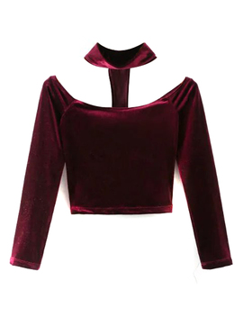 Burgundy Velvet Choker Neck Off Shoulder Long Sleeve T Shirt by Choies