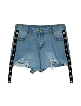 Blue High Waist Eyelet Raw Hem Denim Shorts by Choies