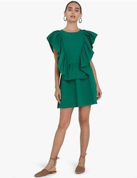 Green Frill Linen Dress by Pixie Market