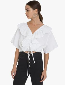 Linen Frill Lace Up Tie Top by Pixie Market