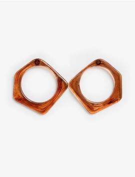 Brown Oversize Geometric Earrings by Pixie Market
