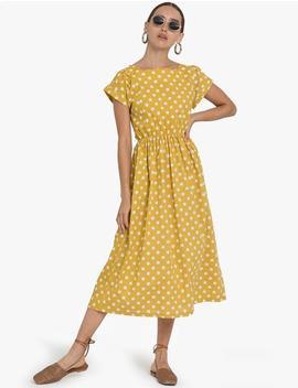 Yellow Polka Dot Midi Dress by Pixie Market