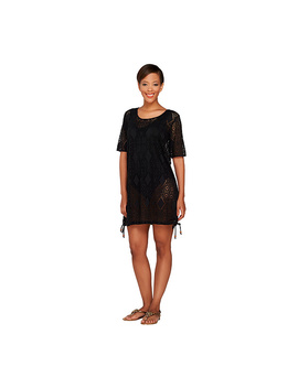 Denim &Amp; Co. Beach Knit Open Work Elbow Sleeve Cover Up by Qvc