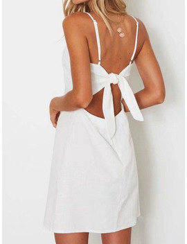 White Bow Tie Back Cami A Line Mini Dress by Choies