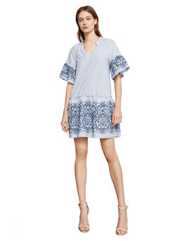 Short Sleeve Embroidered Cotton Dress by Bcbgmaxazria