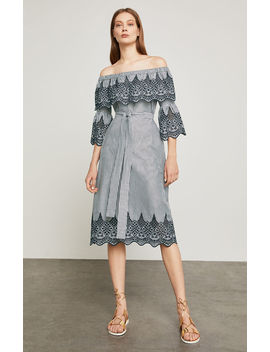 Off The Shoulder Embroidered Dress by Bcbgmaxazria