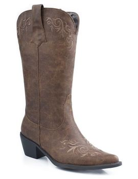 Roper Embroidered Faux Leather Cowgirl Boots   Pointed Toe by Roper