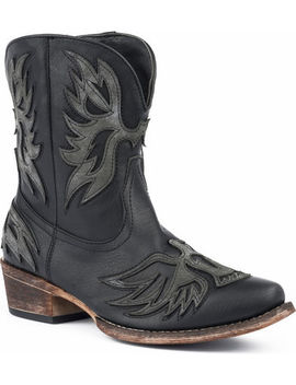 Roper Women's Amelia Eagle Overlay Short Western Boots   Snip Toe by Roper