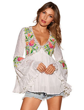 Sequin Embroidered Lace Tunic Top by Boston Proper