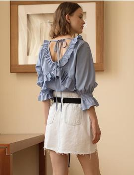 Gingham Ruffle Back Tie Top by Pixie Market