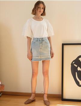 Denim Frayed Mini Skirt by Pixie Market
