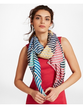 Striped Silk Blend Scarf by Brooks Brothers