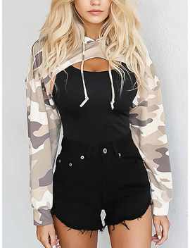 Khaki Camouflage Long Sleeve Cropped Hoodie by Choies