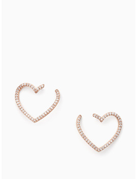 Yours Truly Pave Heart Bypass Hoops by Kate Spade