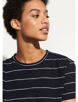 Skinny Stripe Short Sleeve Crew by Vince