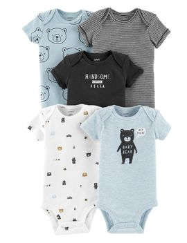 5 Pack Bear Original Bodysuits by Carter's