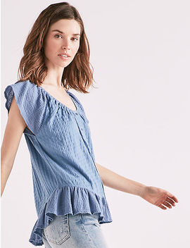 Textured Woven Mix Media Top by Lucky Brand