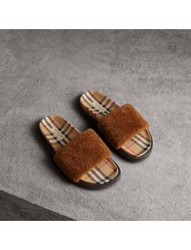 Shearling And Vintage Check Slides by Burberry