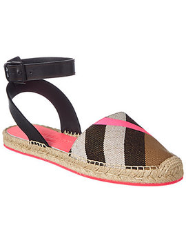 Burberry House Check Leather Trim Espadrille Sandal by Burberry