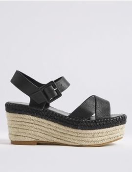 Leather Wedge Heel Cross Front Espadrilles by Marks & Spencer