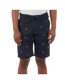 Mens Belted Lobster Print Flat Front Short by Burlington