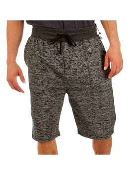 Mens Streaky Black Fleece Shorts With Slub Knit by Burlington