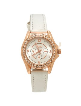 Womens Faux Leather Crystal Bezel Chronograph Watch by Burlington