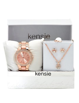 Womens Crystal Bezel Watch &Amp; Flower Pendant Necklace 3 Piece Set by Burlington