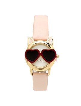 Womens Red Sunglasses Cat Faux Leather Watch by Burlington