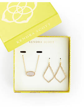 Sophia Earrings And Elisa Necklace Set In Gold by Kendra Scott